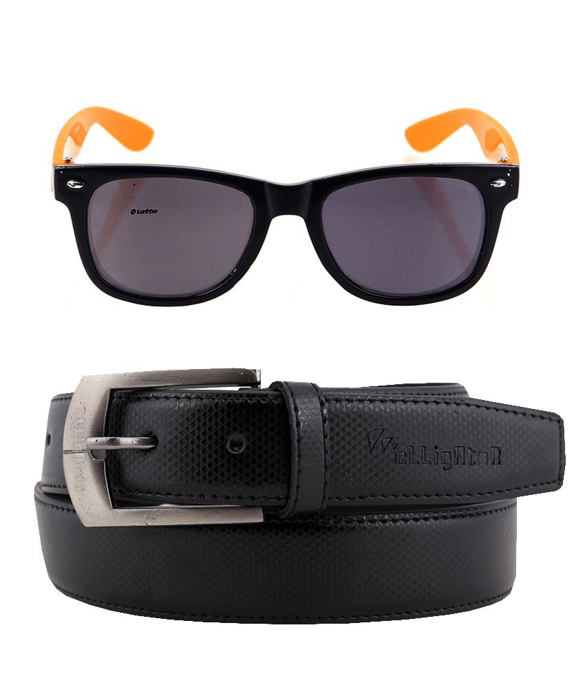 Elligator Pin Buckle Leather Belt & Lotto Wayfarer Combo