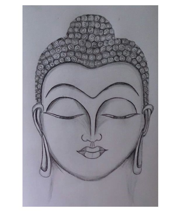 Ruchi arts off white gautam buddha pencil sketch