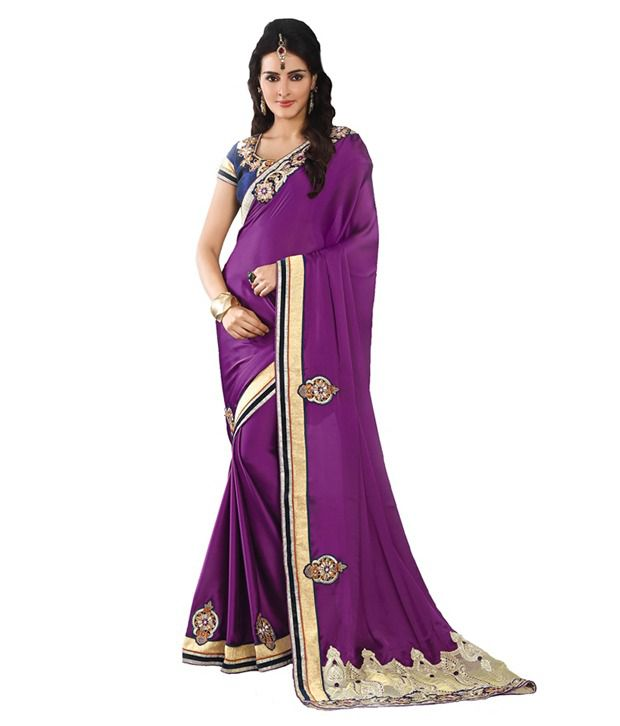 Sibani Fashion Purple Semi Chiffon Buti Saree