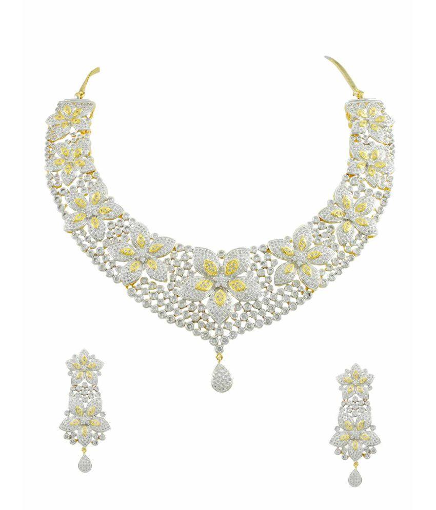 Orniza Glittering CZ Stones Necklace Set