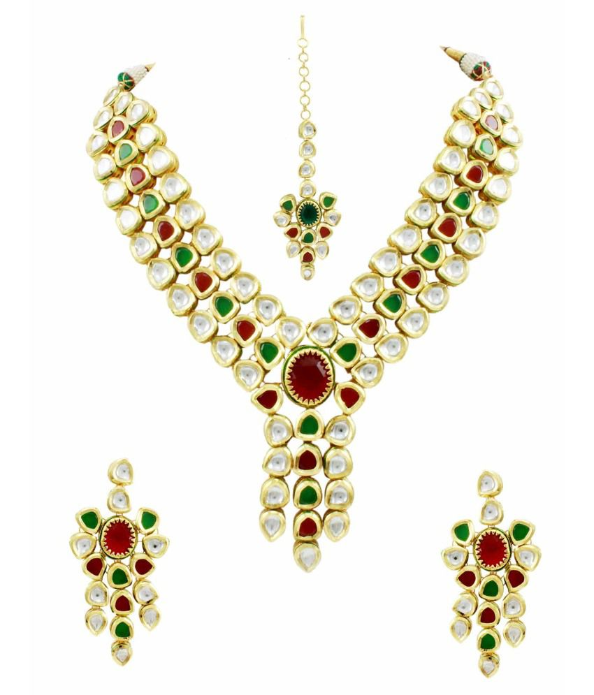 Orniza Classic Vilandi Kundan Bridal Necklace Set with Maang Tika