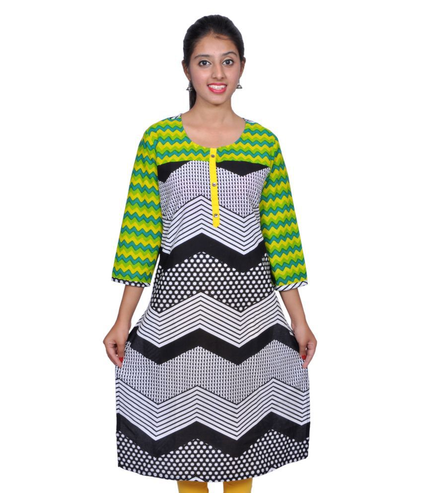 Vasudha Yellow Printed 3/4 Sleeves Women Kurtis