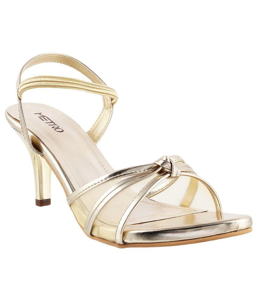 Metro Chic Golden Heeled Sandals Price