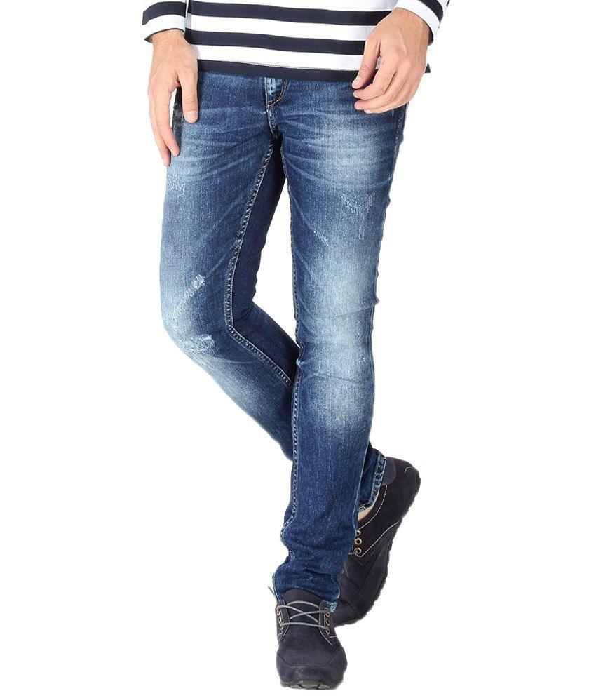 Slub Classic Blue Skin Fit Jeans