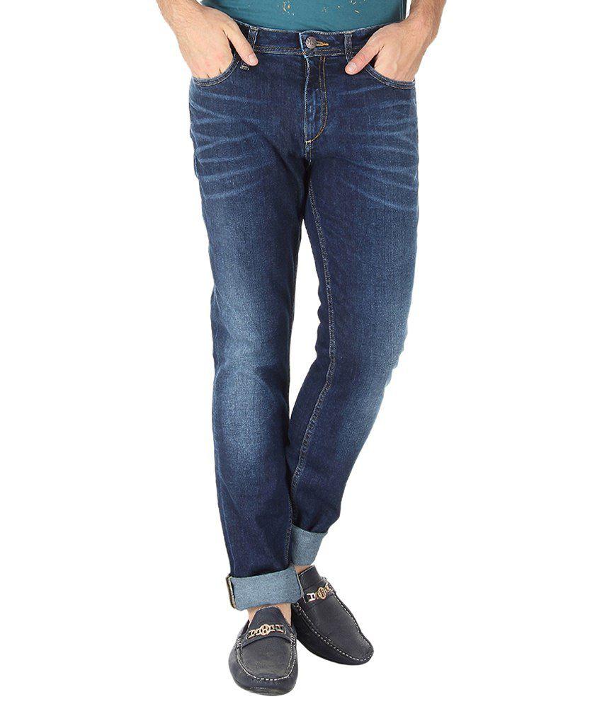Slub Classy Navy Skin Fit Jeans