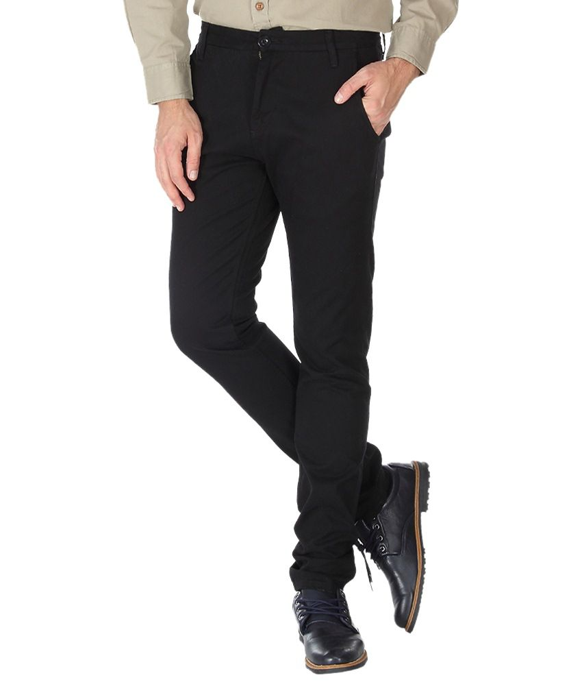 Slub Jet Black Casual Trouser