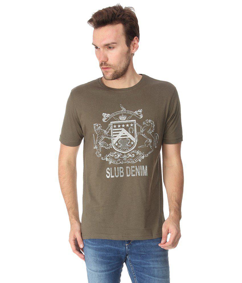Slub Olive Green Printed T Shirt