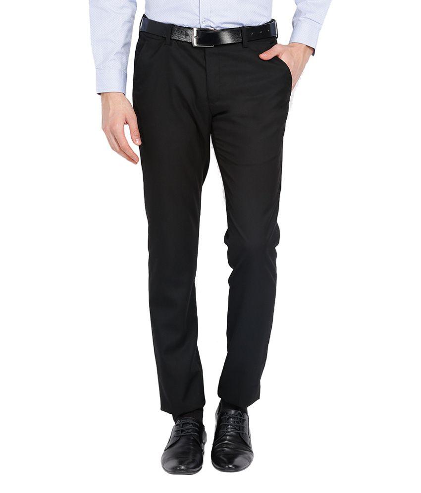 Black Coffee Poly Viscose Black Flat Formal Trouser