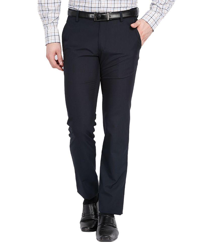 Black Coffee Poly Viscose Navy Regular Flat Formal Trouser