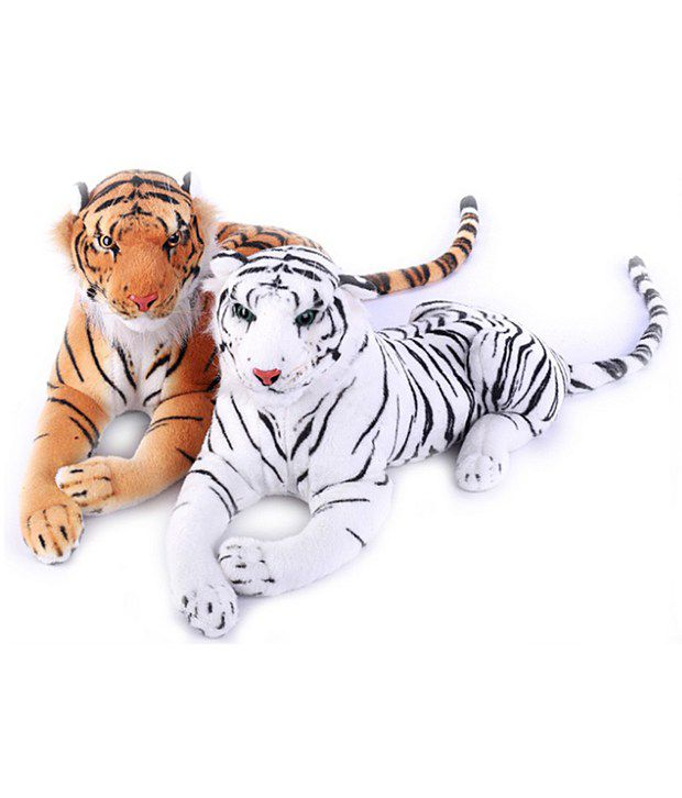 Deals India White & Brown Tiger (set Of 2)