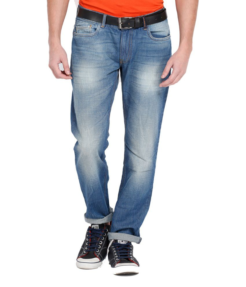 Locomotive Stylish Blue Cotton Slim Fit Jeans