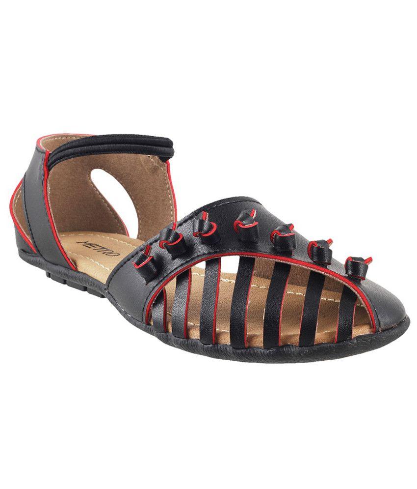 Metro Stylish Black Sandals