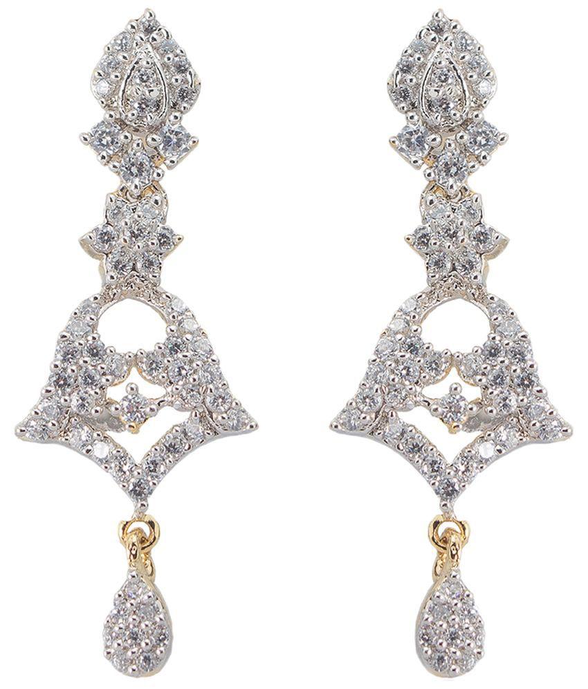 Utsokt White & Golden CZ Chandelier Earrings