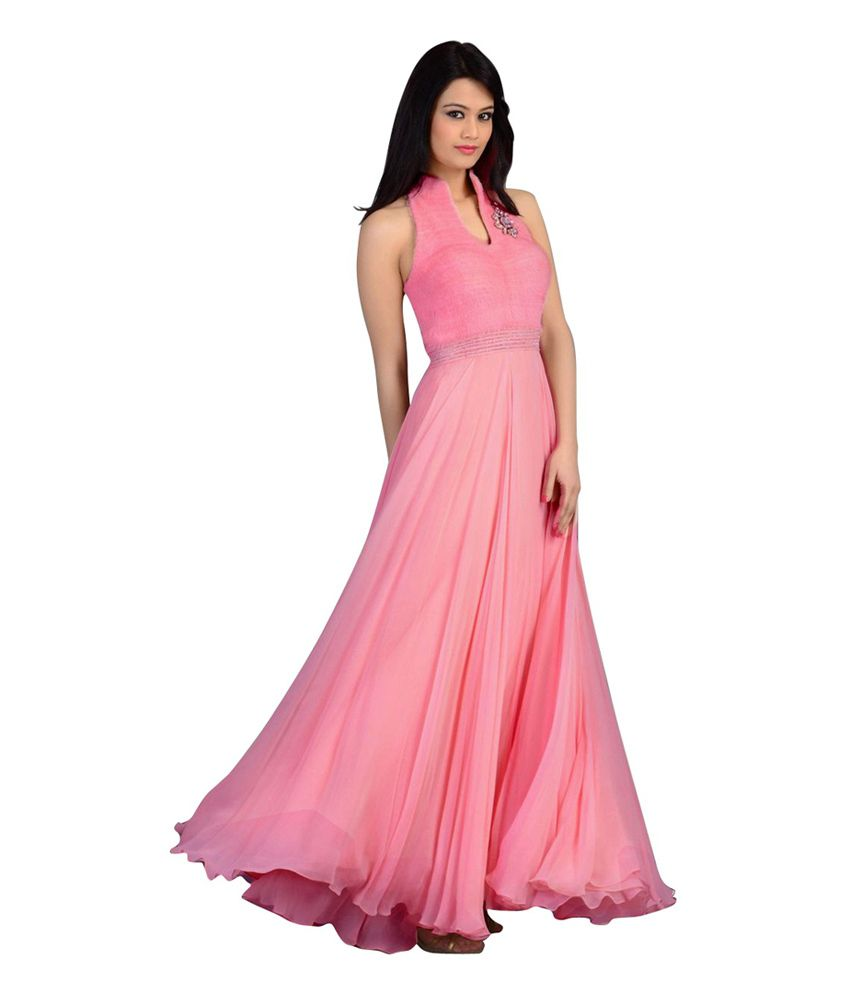 64185c25ec1a Chocolate Veera Pink Velvet Party wear Long Gown - Buy Chocolate Veera Pink  Velvet Party wear Long Gown Online at Best Prices in India on Snapdeal