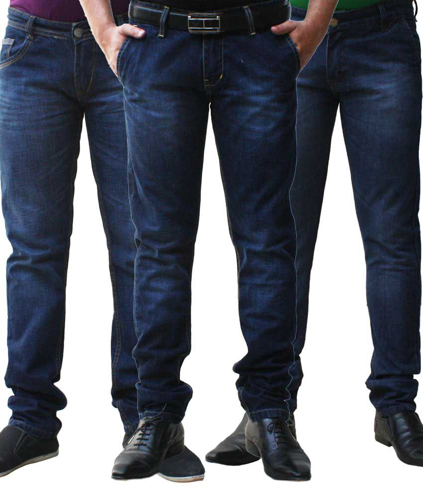 Club Vintage Cotton Black Slim Fit Jeans - Combo of 3