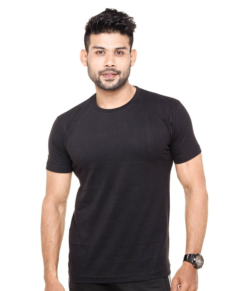 Fleximaa Round Neck Black T-shirt