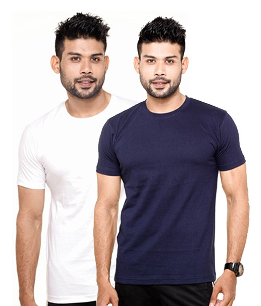 Fleximaa White & Navy Blue Round Neck T-Shirts (Pack of 2)