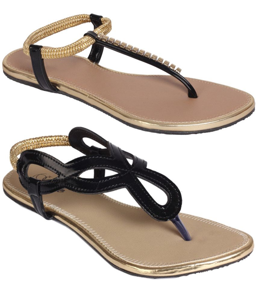 Jade Black Sandals Combo