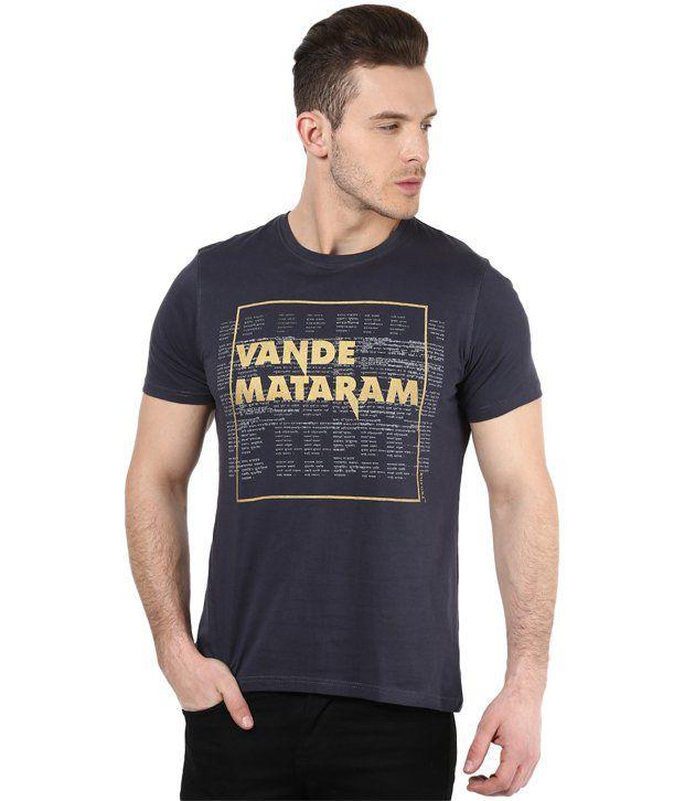 Mens Casual Tshirt - Printed - Grey Color Cotton Round Neck Tshirt - Nirvana