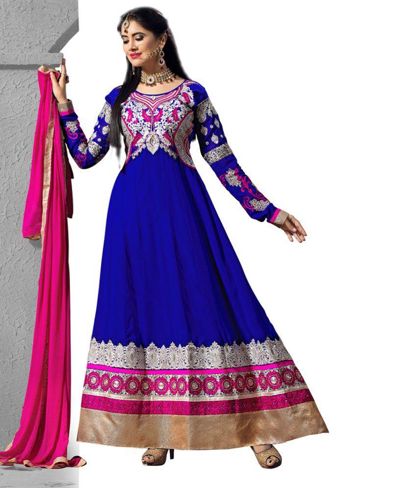 Pricebet Blue Pure Georgette Anarkali Suit Pakistani Salwar Suit