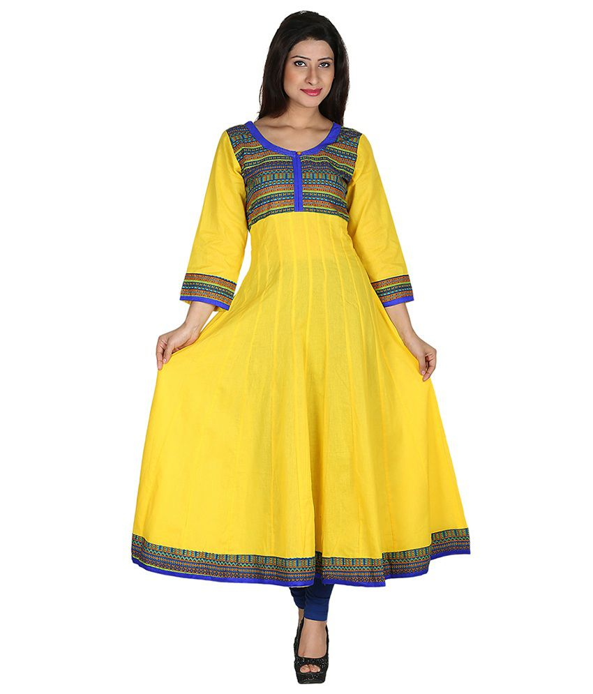 Inara Robes Yellow Cotton Woven Printed Long Kurti