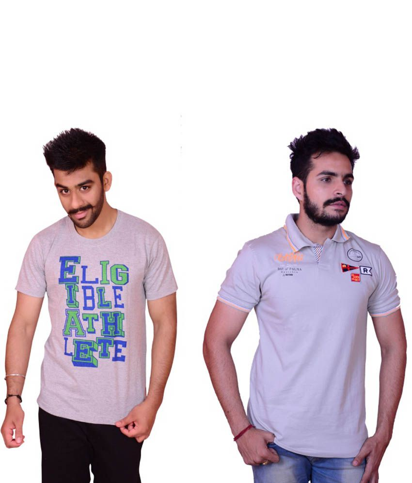 Cotton Printed Round Neck T Shirt Pack Of 2