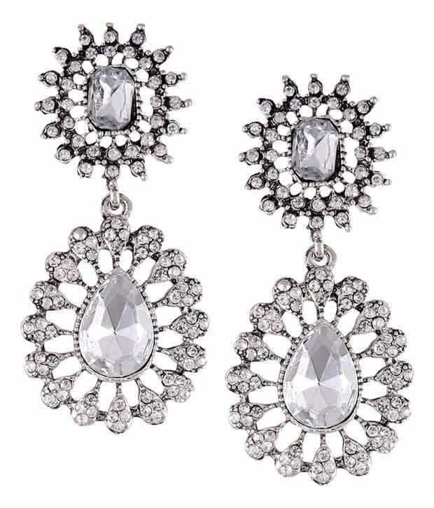 Stol'n White Antique Crystal Drop Earrings