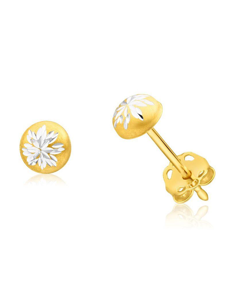 Aiza Certified Real Diamond Hallmarked Dual Tone Stud Gold Earrings