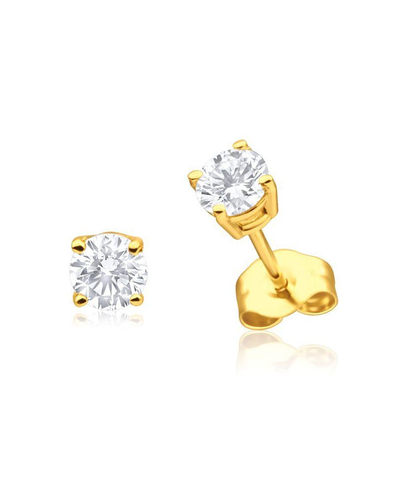 Aiza Certified Real Diamond Hallmarked Fine Stud Gold Earrings