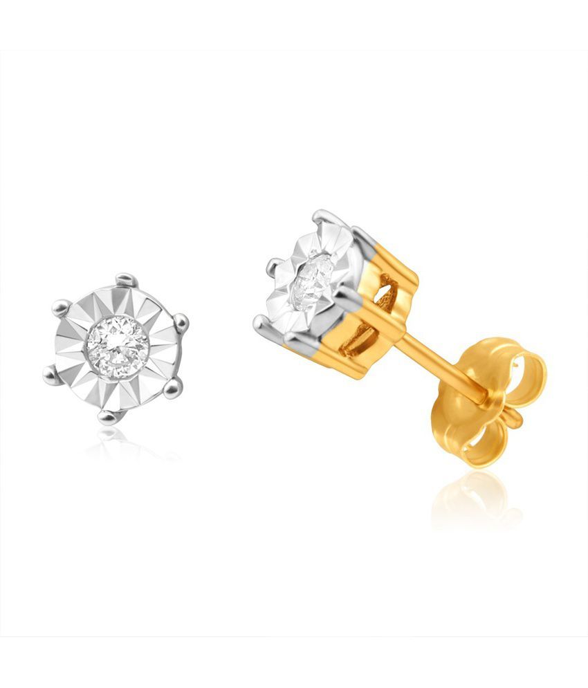 Aiza Certified Real Diamond Hallmarked Flower Stud Gold Earrings
