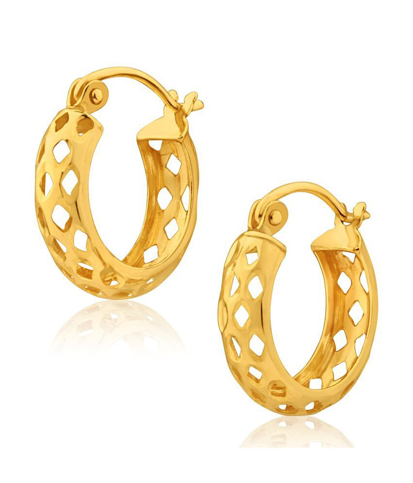 Aiza Certified Real Diamond Hallmarked Sophisticated Gold Earrings