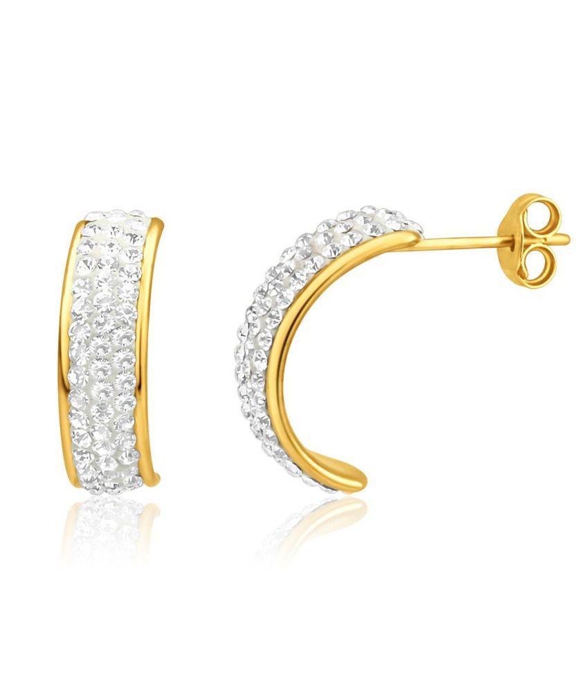 Aiza Certified Real Diamond Hallmarked Half Moon Gold Earrings