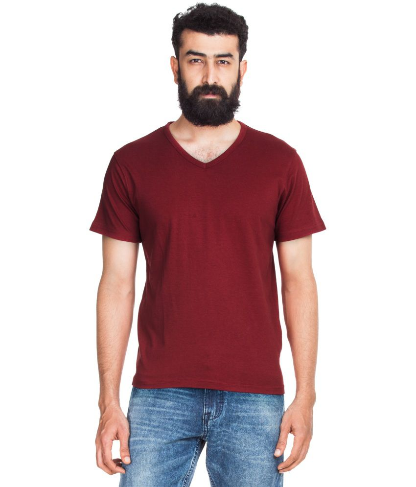 Designer Store Maroon Cotton Round Neck T-shirt