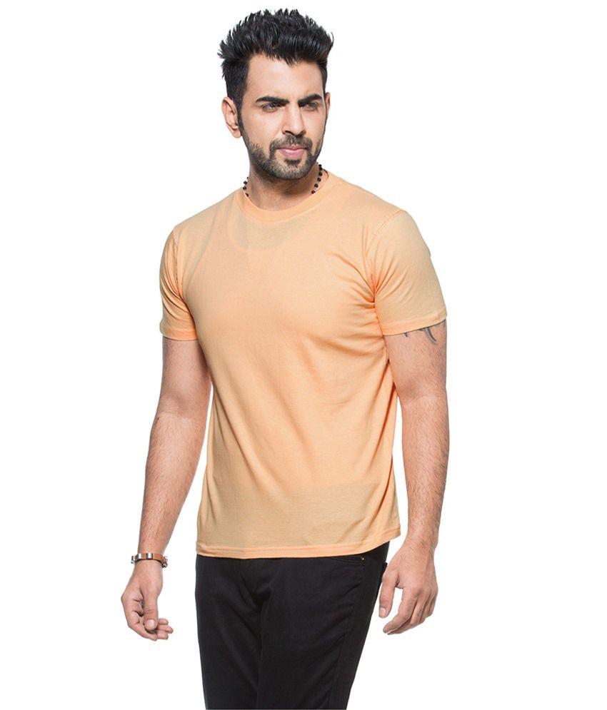 Designer Store Peach Cotton Round Neck T-shirt
