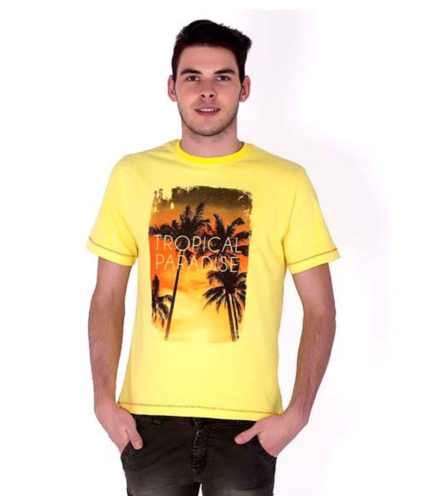 Sera Yellow Cotton Printed Half Sleeves Round Neck T-Shirt For Men