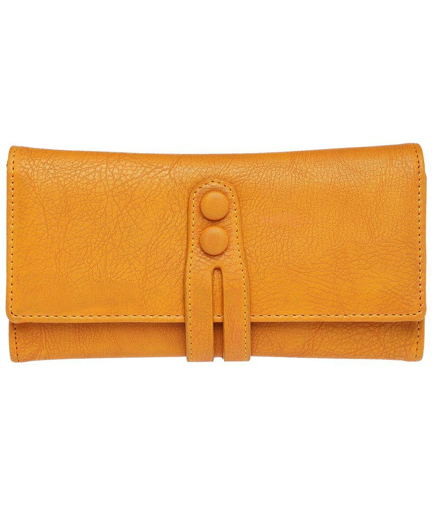 Elliza Donatein By Shoppers Stop Mustard Brooke Yellow Wallet