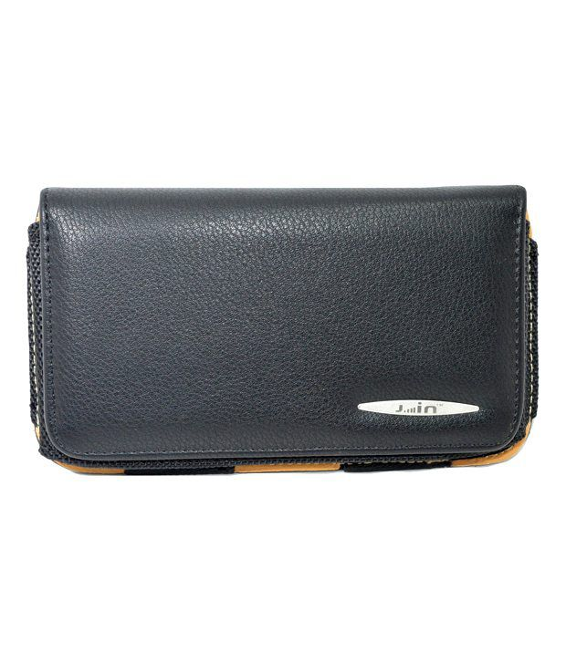 Indiacod Universal Leather Belt Pouch For Micromax Bolt A62