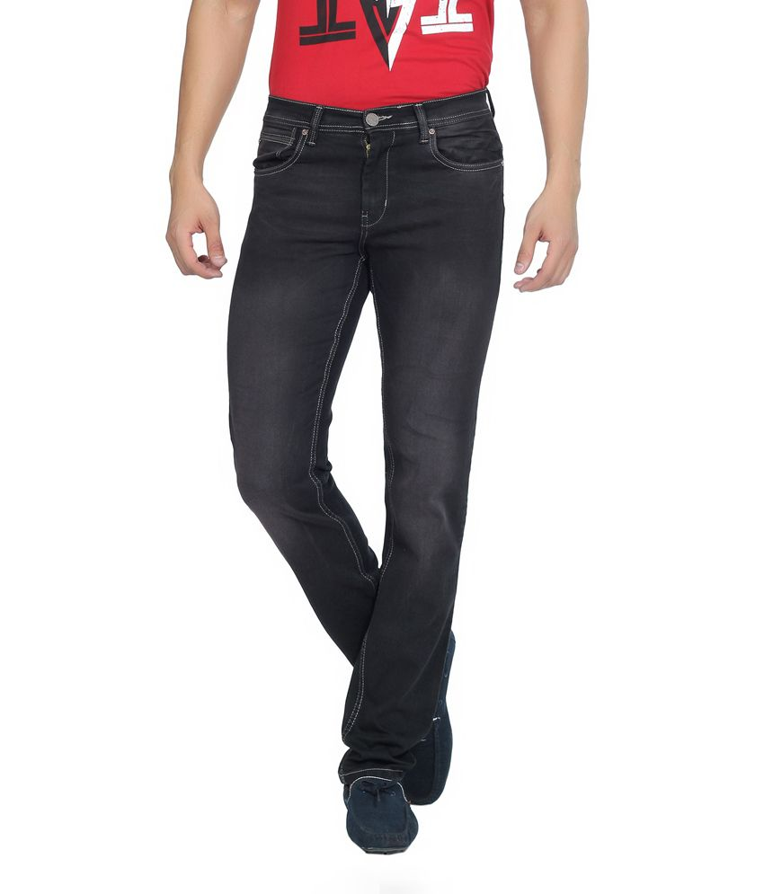 Live In Black Cotton Blend Slim Fit Faded Jeans