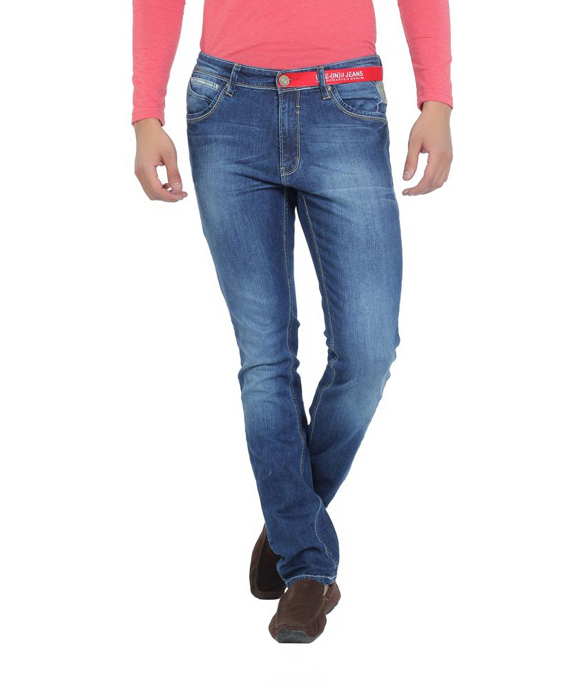 Live In Blue Cotton Blend Relaxed Fit Faded Jeans