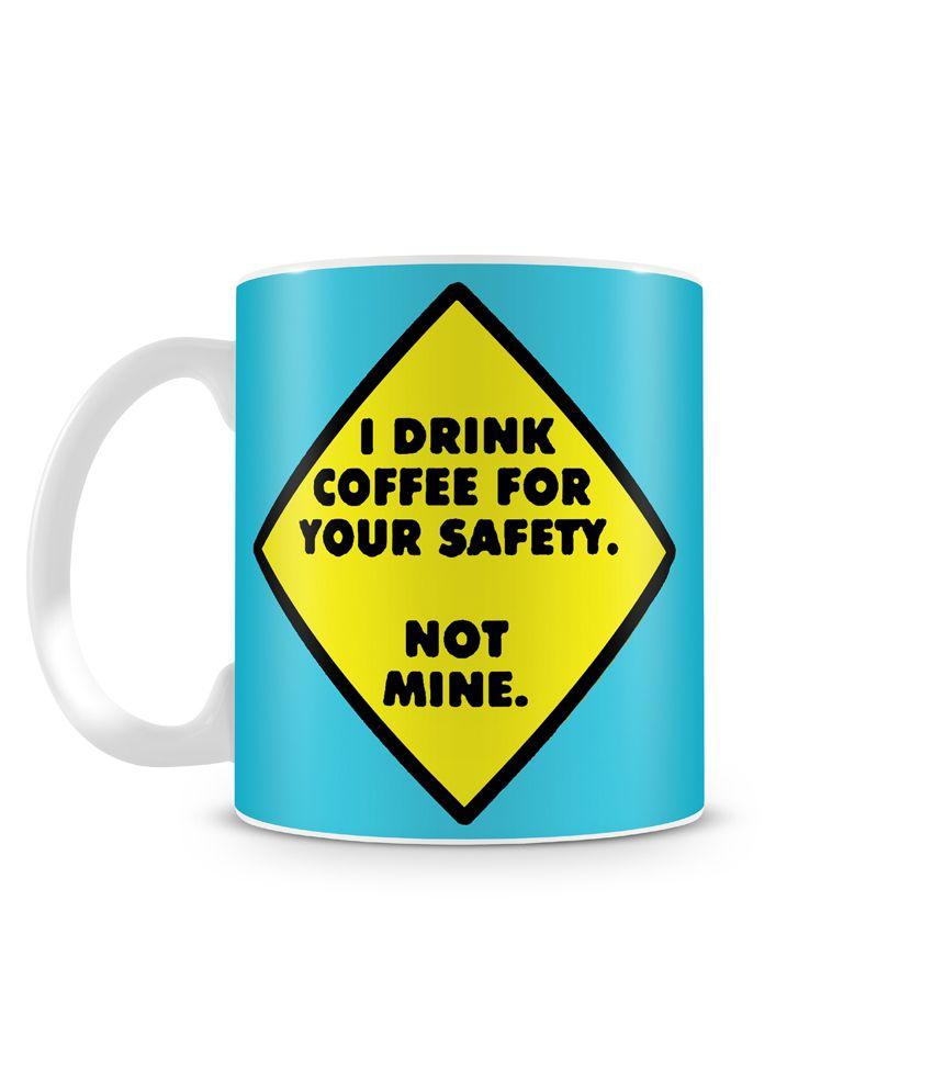 Saledart Blue Melamine Mirror Finish Drink Coffee For Your Safety