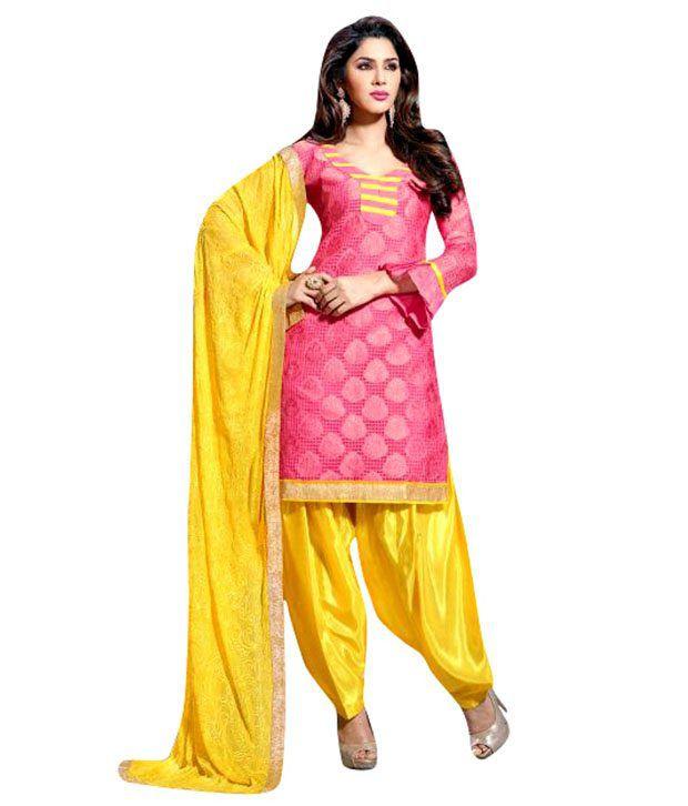Tahira Pink Crepe Jacquard Jacquard Dress Material