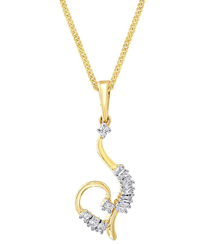 D'damas Voguish 18 Kt Gold Plated Diamond Pendant: Buy D