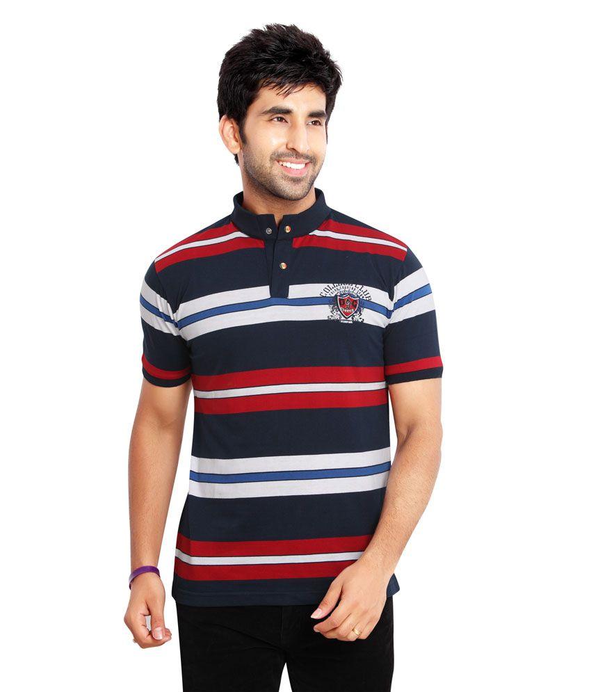 Fulon Navy Cotton Blend Half Sleeves Henley T Shirt