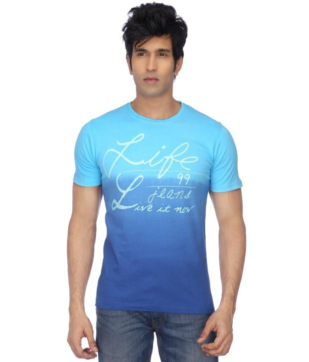 Life By Shoppers Stop Blue Cotton T-shirt