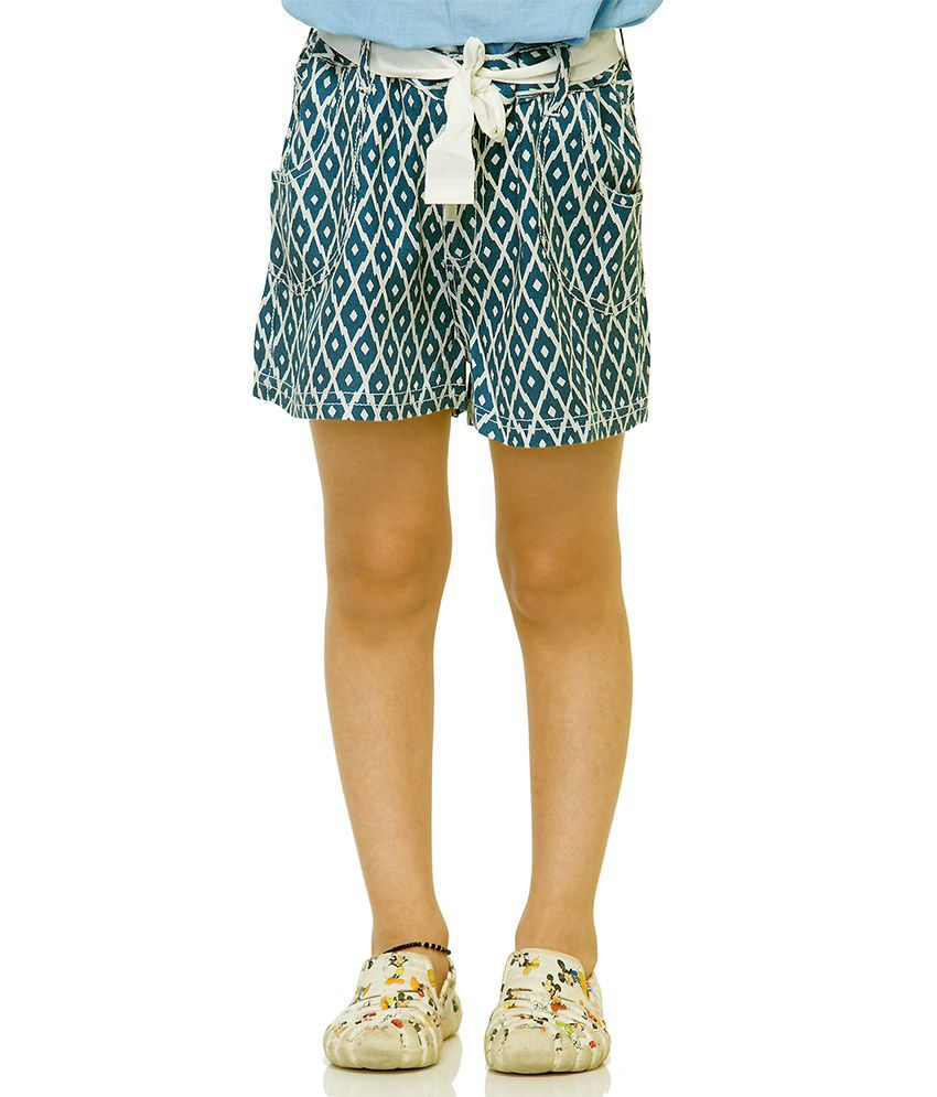 Oxolloxo Blue Viscose Printed Beautiful Shorts For Girls