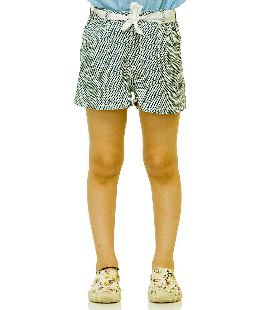Oxolloxo White Viscose Printed Beautiful Shorts For Girls