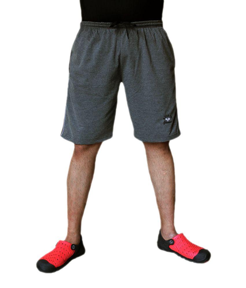 Sports Glamour Gray Cotton Shorts