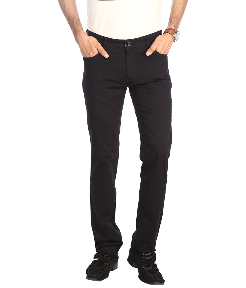 Stop By Shoppers Stop Classy Black Solid Casual Trouser