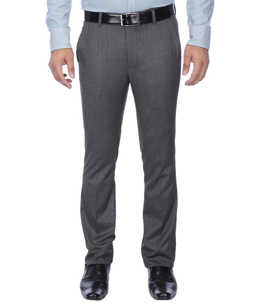 Stop By Shoppers Stop Elegant Gray Formal Trouser