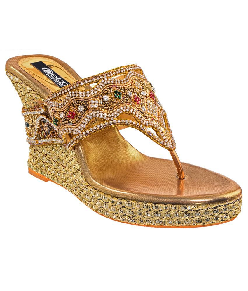 Delco Ethnic Collection Gold Heeled Slip-On